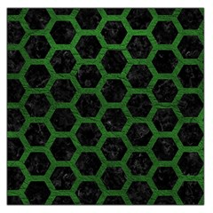 Hexagon2 Black Marble & Green Leather Large Satin Scarf (square)
