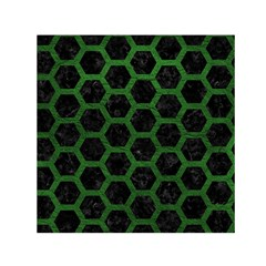 Hexagon2 Black Marble & Green Leather Small Satin Scarf (square)