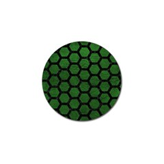 Hexagon2 Black Marble & Green Leather (r) Golf Ball Marker (10 Pack)