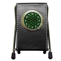 Hexagon2 Black Marble & Green Leather (r) Pen Holder Desk Clocks