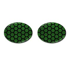Hexagon2 Black Marble & Green Leather (r) Cufflinks (oval)