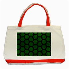 Hexagon2 Black Marble & Green Leather (r) Classic Tote Bag (red)