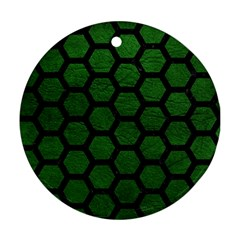 Hexagon2 Black Marble & Green Leather (r) Round Ornament (two Sides)