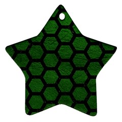 Hexagon2 Black Marble & Green Leather (r) Star Ornament (two Sides)