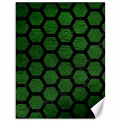 Hexagon2 Black Marble & Green Leather (r) Canvas 18  X 24