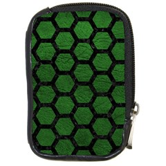 Hexagon2 Black Marble & Green Leather (r) Compact Camera Cases