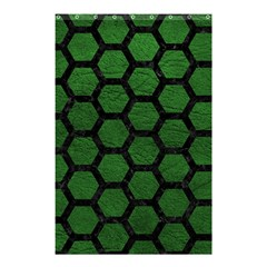Hexagon2 Black Marble & Green Leather (r) Shower Curtain 48  X 72  (small)