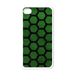 Hexagon2 Black Marble & Green Leather (r) Apple Iphone 4 Case (white)