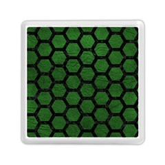 Hexagon2 Black Marble & Green Leather (r) Memory Card Reader (square)