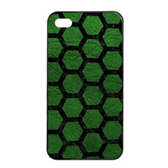 Hexagon2 Black Marble & Green Leather (r) Apple Iphone 4/4s Seamless Case (black)
