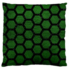 Hexagon2 Black Marble & Green Leather (r) Large Cushion Case (two Sides)