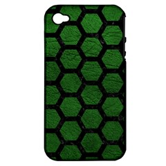 Hexagon2 Black Marble & Green Leather (r) Apple Iphone 4/4s Hardshell Case (pc+silicone)