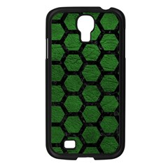 Hexagon2 Black Marble & Green Leather (r) Samsung Galaxy S4 I9500/ I9505 Case (black)