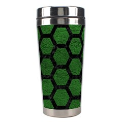 Hexagon2 Black Marble & Green Leather (r) Stainless Steel Travel Tumblers