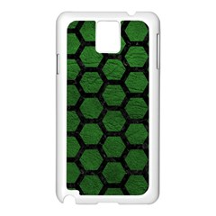 Hexagon2 Black Marble & Green Leather (r) Samsung Galaxy Note 3 N9005 Case (white)
