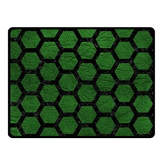 Hexagon2 Black Marble & Green Leather (r) Double Sided Fleece Blanket (small)