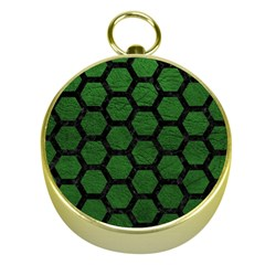 Hexagon2 Black Marble & Green Leather (r) Gold Compasses