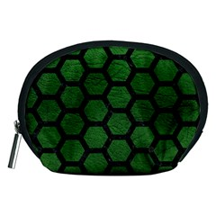 Hexagon2 Black Marble & Green Leather (r) Accessory Pouches (medium)