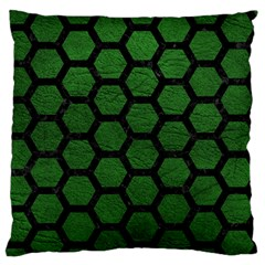 Hexagon2 Black Marble & Green Leather (r) Standard Flano Cushion Case (one Side)