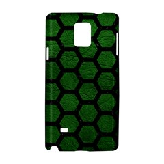 Hexagon2 Black Marble & Green Leather (r) Samsung Galaxy Note 4 Hardshell Case