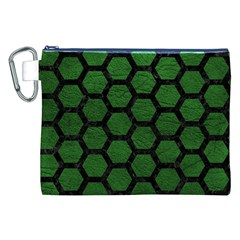 Hexagon2 Black Marble & Green Leather (r) Canvas Cosmetic Bag (xxl)