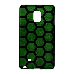 Hexagon2 Black Marble & Green Leather (r) Galaxy Note Edge