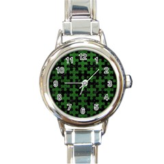 Puzzle1 Black Marble & Green Leather Round Italian Charm Watch