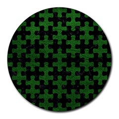Puzzle1 Black Marble & Green Leather Round Mousepads