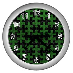 Puzzle1 Black Marble & Green Leather Wall Clocks (silver)
