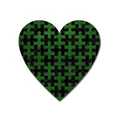 Puzzle1 Black Marble & Green Leather Heart Magnet