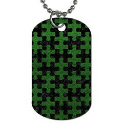 Puzzle1 Black Marble & Green Leather Dog Tag (one Side)