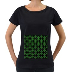 Puzzle1 Black Marble & Green Leather Women s Loose Fit T Shirt (black)