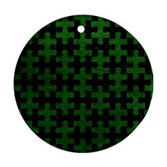 Puzzle1 Black Marble & Green Leather Round Ornament (two Sides)