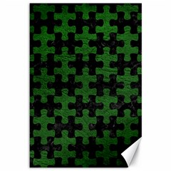 Puzzle1 Black Marble & Green Leather Canvas 12  X 18