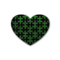 Puzzle1 Black Marble & Green Leather Heart Coaster (4 Pack)