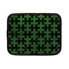 Puzzle1 Black Marble & Green Leather Netbook Case (small)