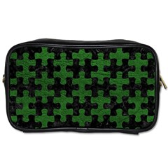 Puzzle1 Black Marble & Green Leather Toiletries Bags