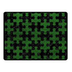 Puzzle1 Black Marble & Green Leather Fleece Blanket (small)