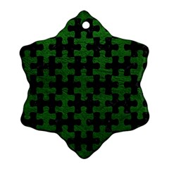 Puzzle1 Black Marble & Green Leather Ornament (snowflake)