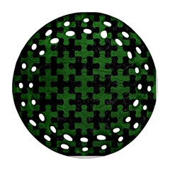 Puzzle1 Black Marble & Green Leather Round Filigree Ornament (two Sides)