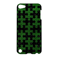 Puzzle1 Black Marble & Green Leather Apple Ipod Touch 5 Hardshell Case