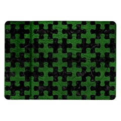 Puzzle1 Black Marble & Green Leather Samsung Galaxy Tab 10 1  P7500 Flip Case