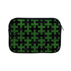 Puzzle1 Black Marble & Green Leather Apple Ipad Mini Zipper Cases
