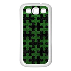 Puzzle1 Black Marble & Green Leather Samsung Galaxy S3 Back Case (white)