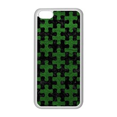 Puzzle1 Black Marble & Green Leather Apple Iphone 5c Seamless Case (white)