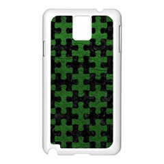 Puzzle1 Black Marble & Green Leather Samsung Galaxy Note 3 N9005 Case (white)