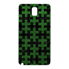 Puzzle1 Black Marble & Green Leather Samsung Galaxy Note 3 N9005 Hardshell Back Case