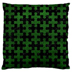 Puzzle1 Black Marble & Green Leather Large Flano Cushion Case (one Side)
