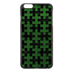 Puzzle1 Black Marble & Green Leather Apple Iphone 6 Plus/6s Plus Black Enamel Case