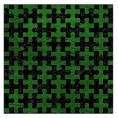Puzzle1 Black Marble & Green Leather Large Satin Scarf (square)